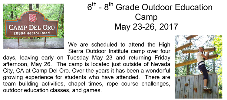 6th-8th Grade Outdoor Education Camp, May 23-26